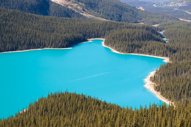 Now for a different landscape. The deep color of this lake is almost unbelievable. At the upper right corner, a set of smaller lakes of the same color can be barely seen.