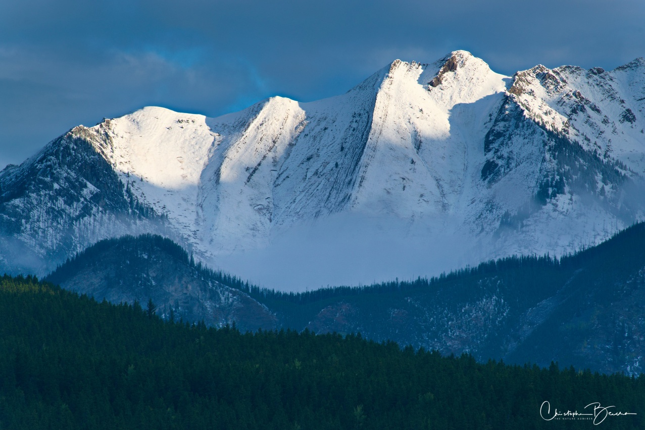 Close up view of the peak. The summit is not that high up, but due to recent snowfall, it was entirely covered by snow.