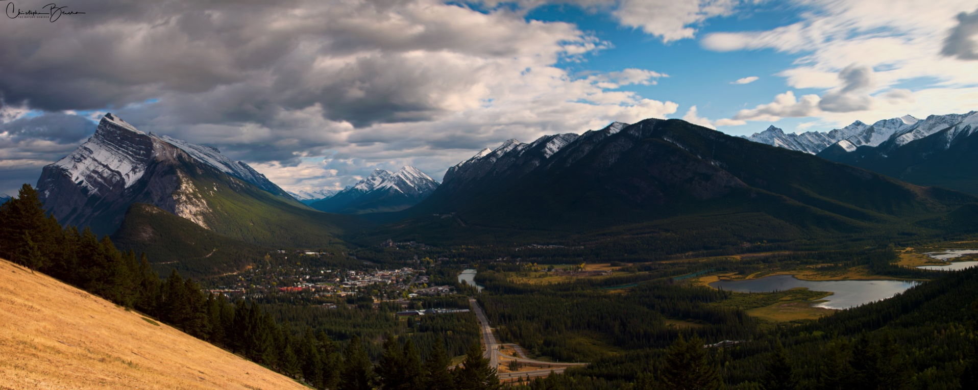 Banff in a Panorama. Vermillion lakes are visible to the right, and Mount Rundle to the left. On the center, Sulphur Mountain.