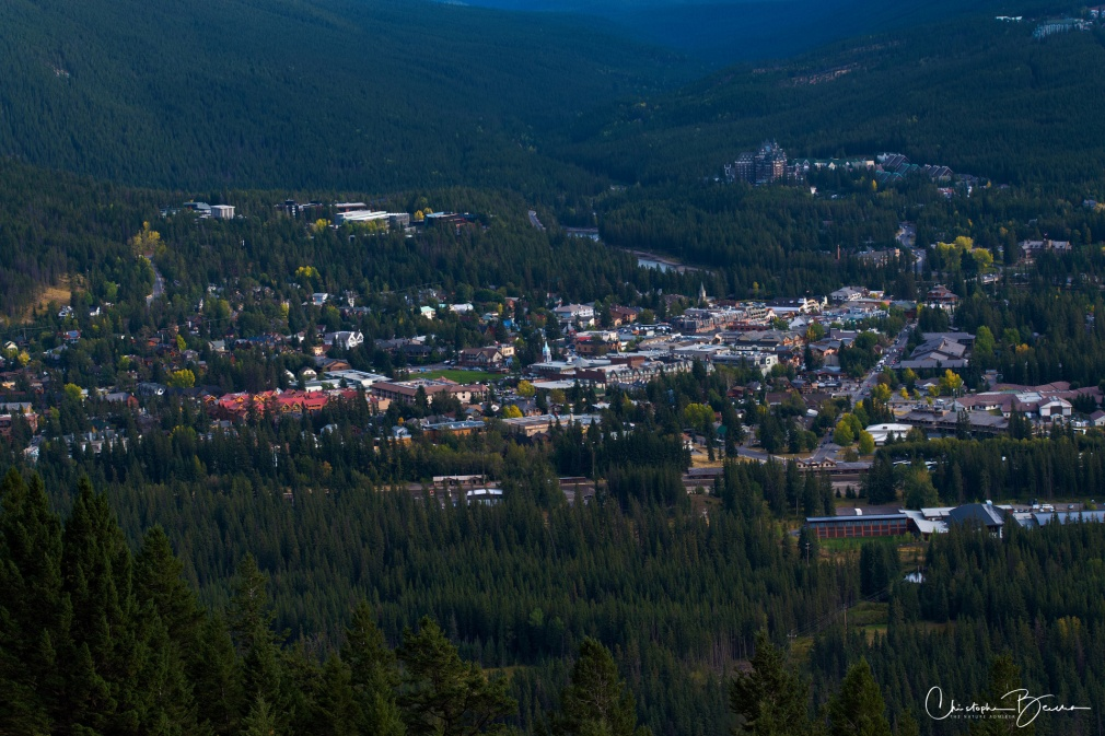 Close up view of Banff Town from the lookout point. It's small but full of life, and surrounded by wild nature.