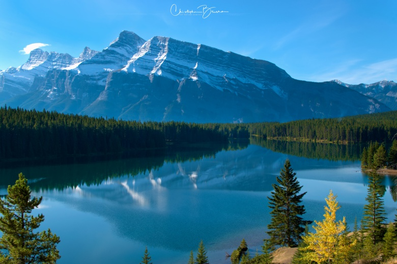 A few days after the sunrise shoot, we returned to Two Jack Lake for pictures of Mount Rundle reflection on the water.
