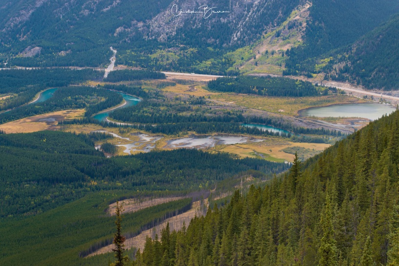 We are still pretty close to Banff. Bow river meanders to the left (see the turquoise again?). Vermillion lakes are seen to the right.